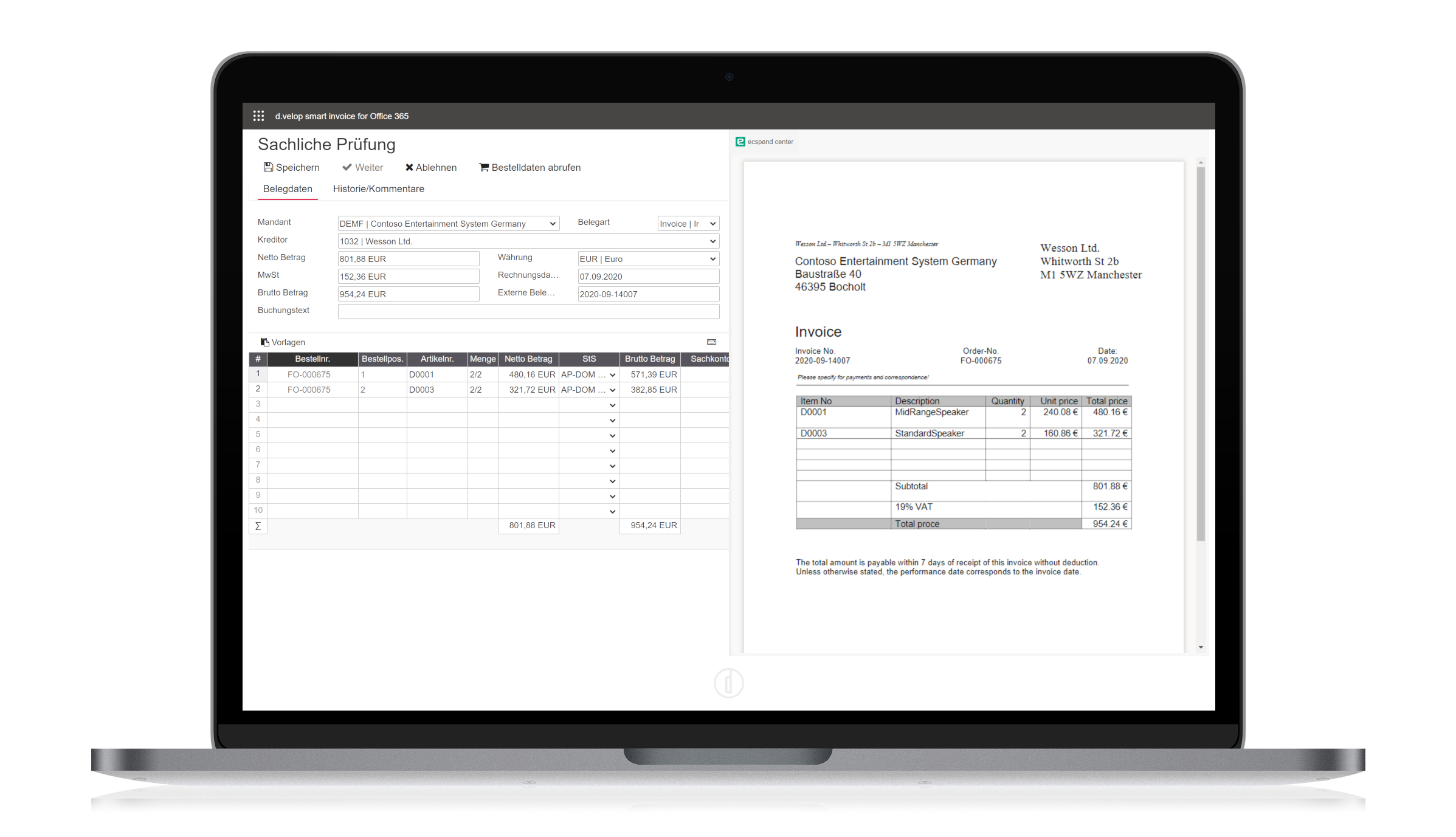 d.velop invoices for Microsoft 365