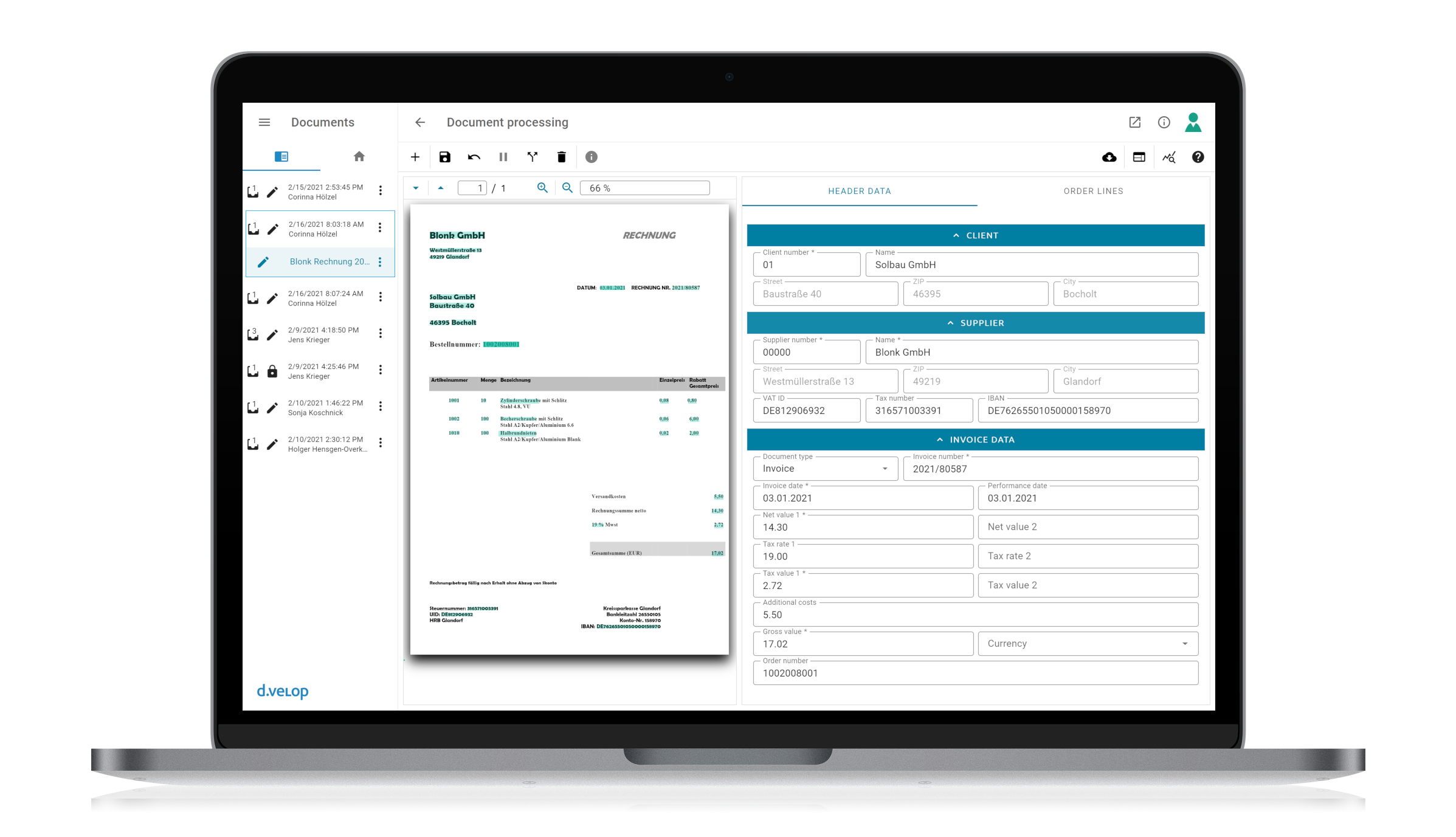 d.velop document reader invoice